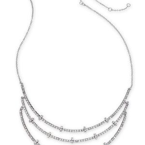 INC Silver-Tone Crystal & Rondelle Bead Triple-Row